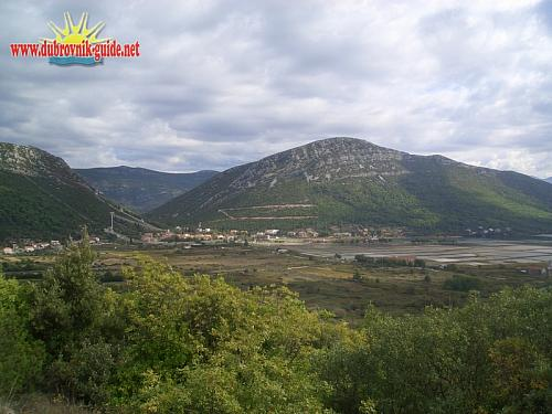 View of Ston and the salt panes