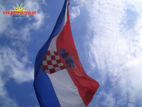 Croatian flag flying from Ston fortress...