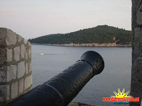 Gun from Dubrovnik City walls pointing to Lokrum Island